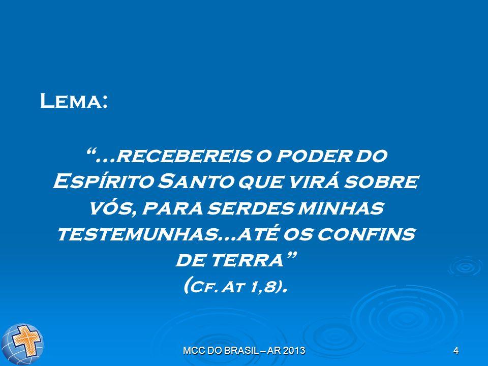 Lema: ...recebereis o poder do Espírito Santo que virá sobre vós, para serdes minhas testemunhas...até os confins de terra