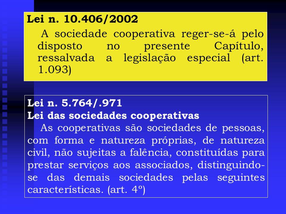 Lei n. 10.406/2002 A sociedade cooperativa reger-se-á pelo disposto no presente Capítulo, ressalvada a legislação especial (art. 1.093)