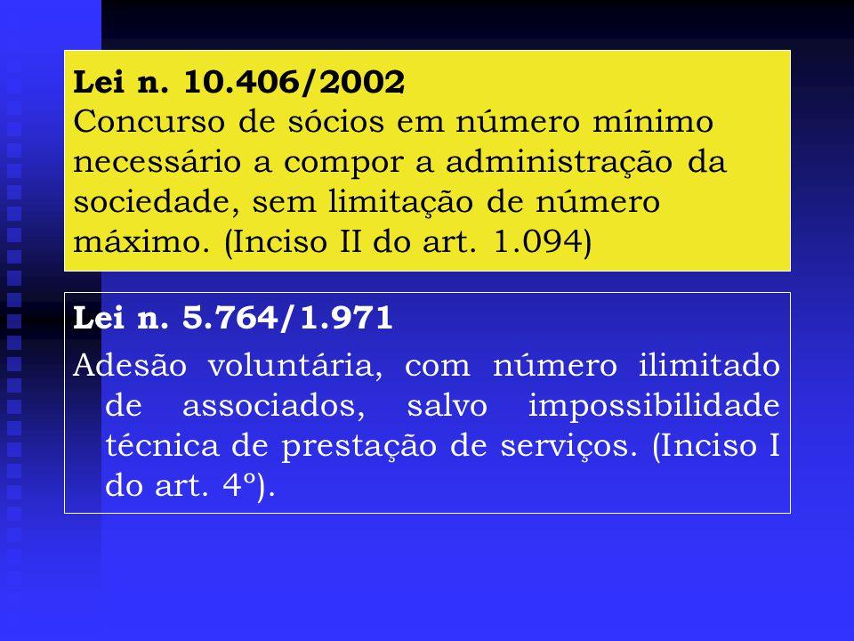 Lei n. 10.406/2002 Concurso de sócios em número mínimo necessário a compor a administração da sociedade, sem limitação de número máximo. (Inciso II do art. 1.094)