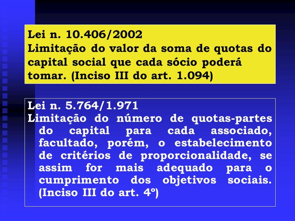 Lei n. 10.406/2002 Limitação do valor da soma de quotas do capital social que cada sócio poderá tomar. (Inciso III do art. 1.094)