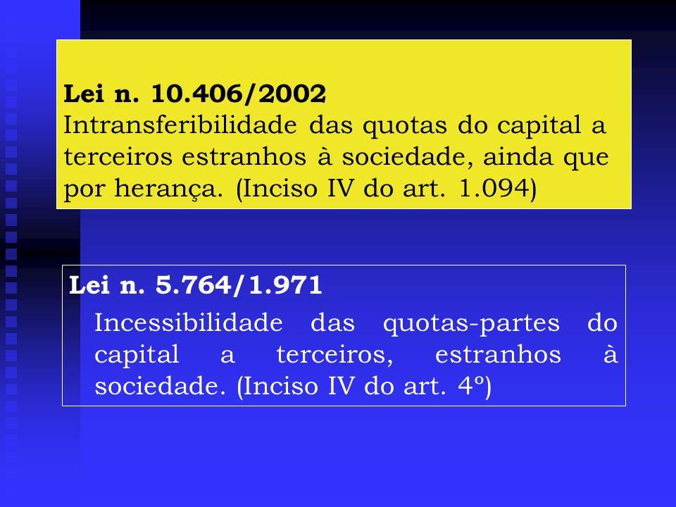 Lei n. 10.406/2002 Intransferibilidade das quotas do capital a terceiros estranhos à sociedade, ainda que por herança. (Inciso IV do art. 1.094)