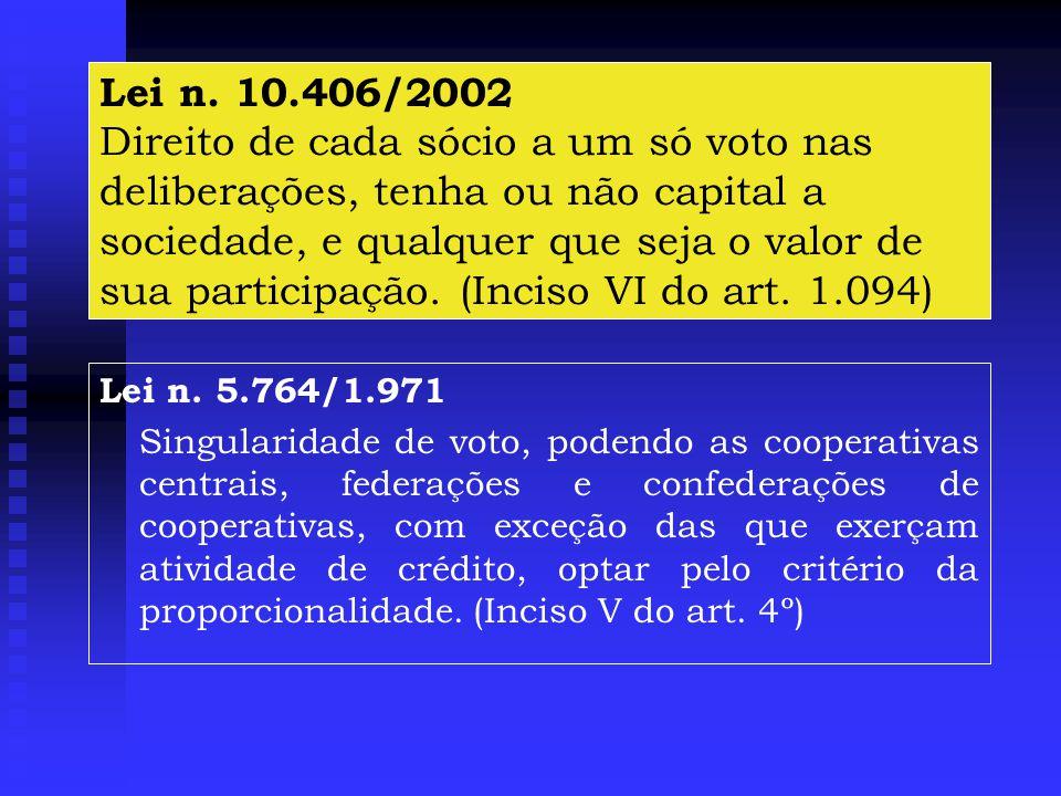 Lei n. 10.406/2002 Direito de cada sócio a um só voto nas deliberações, tenha ou não capital a sociedade, e qualquer que seja o valor de sua participação. (Inciso VI do art. 1.094)