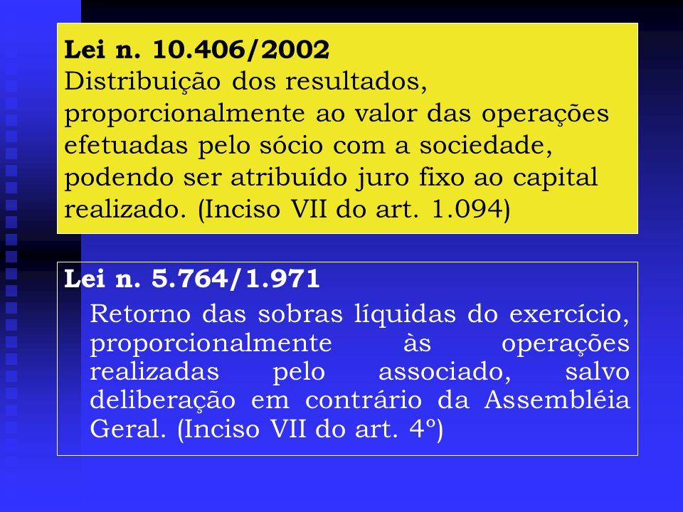 Lei n. 10.406/2002 Distribuição dos resultados, proporcionalmente ao valor das operações efetuadas pelo sócio com a sociedade, podendo ser atribuído juro fixo ao capital realizado. (Inciso VII do art. 1.094)