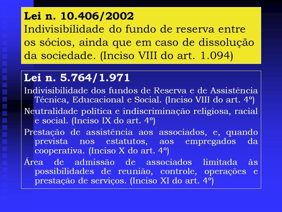 Lei n. 10.406/2002 Indivisibilidade do fundo de reserva entre os sócios, ainda que em caso de dissolução da sociedade. (Inciso VIII do art. 1.094)