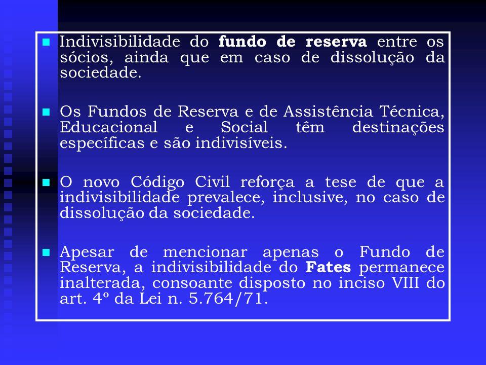 Indivisibilidade do fundo de reserva entre os sócios, ainda que em caso de dissolução da sociedade.
