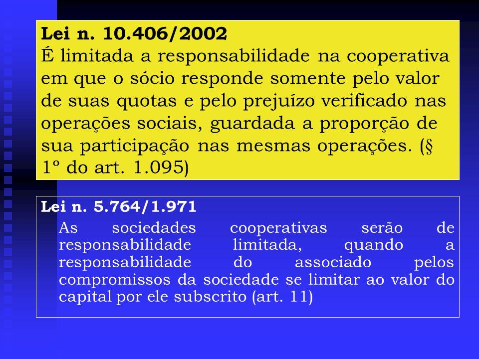Lei n. 10.406/2002 É limitada a responsabilidade na cooperativa em que o sócio responde somente pelo valor de suas quotas e pelo prejuízo verificado nas operações sociais, guardada a proporção de sua participação nas mesmas operações. (§ 1º do art. 1.095)
