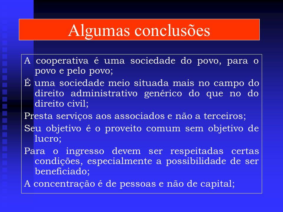 Algumas conclusões A cooperativa é uma sociedade do povo, para o povo e pelo povo;