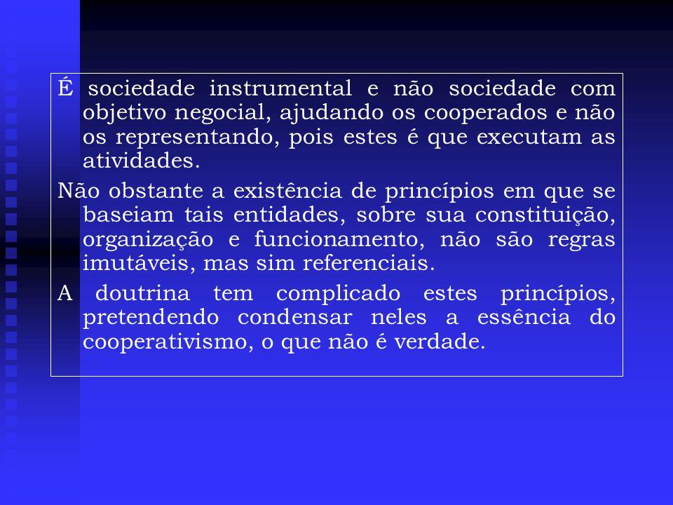 É sociedade instrumental e não sociedade com objetivo negocial, ajudando os cooperados e não os representando, pois estes é que executam as atividades.