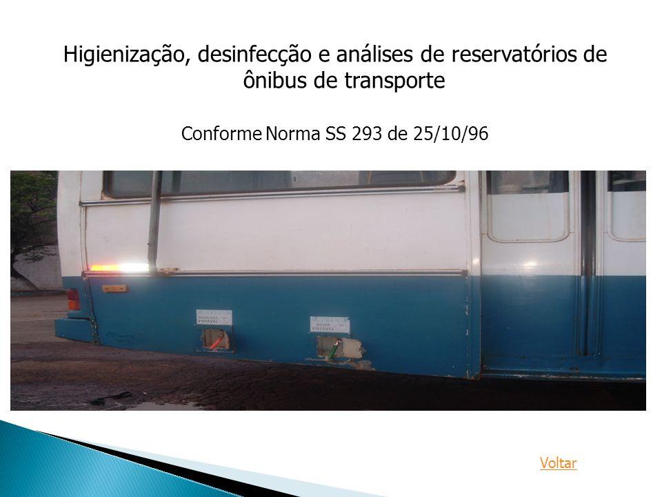 Higienização, desinfecção e análises de reservatórios de ônibus de transporte