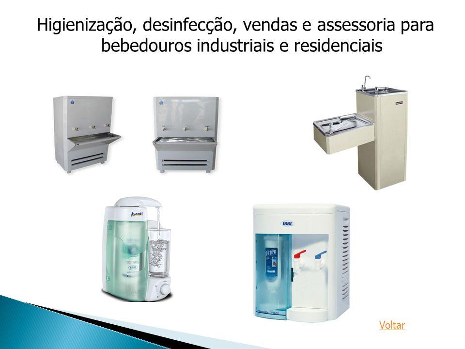 Higienização, desinfecção, vendas e assessoria para bebedouros industriais e residenciais