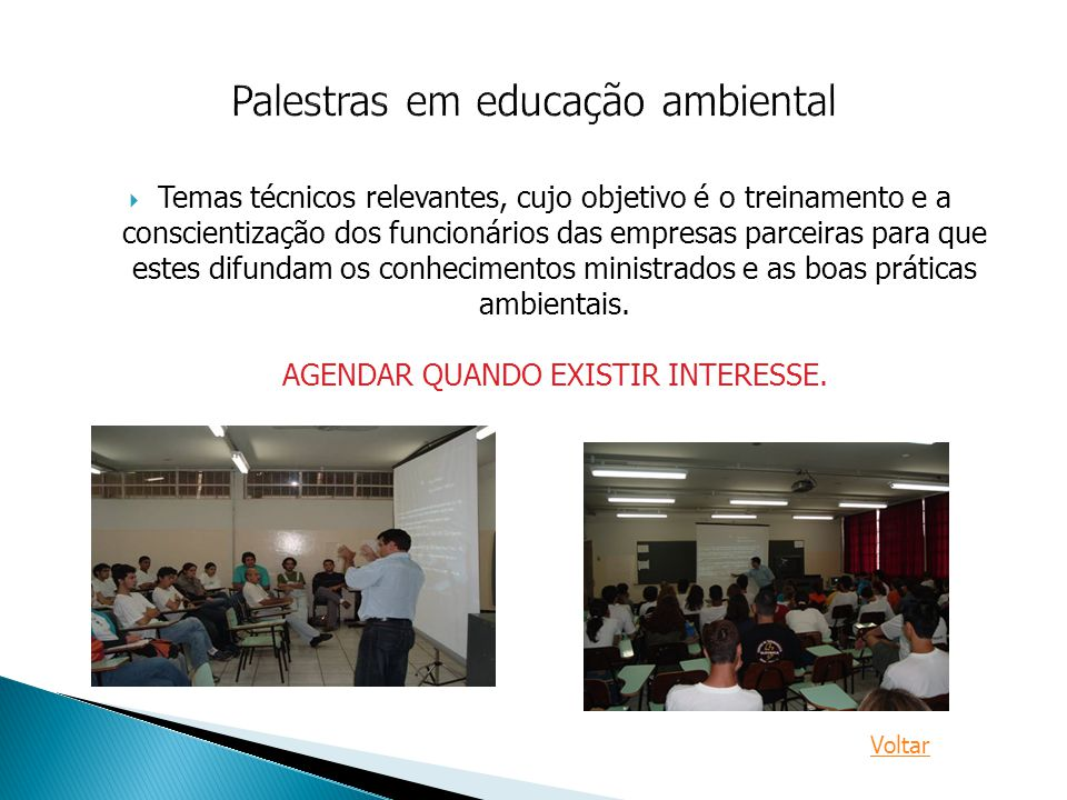 Palestras em educação ambiental