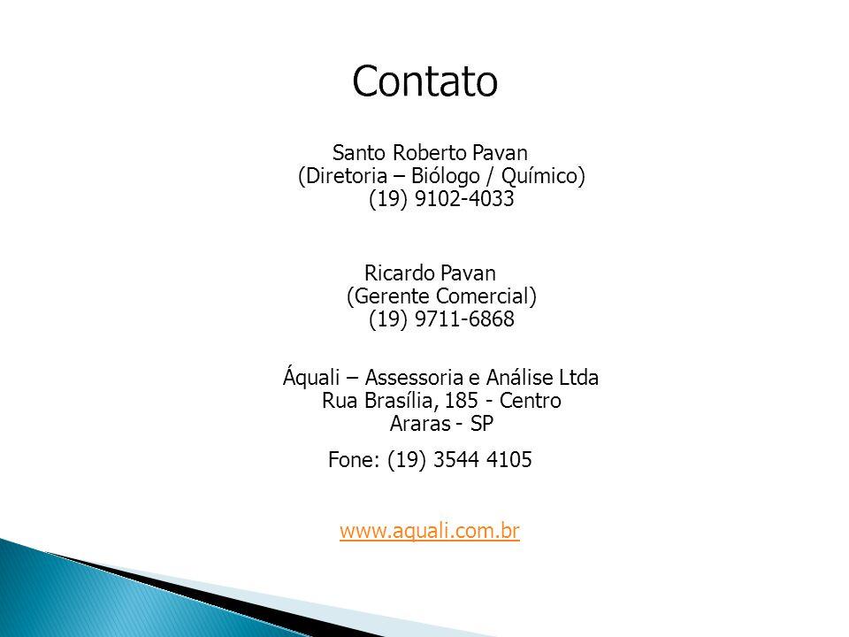 Contato Santo Roberto Pavan (Diretoria – Biólogo / Químico) (19) 9102-4033. Ricardo Pavan (Gerente Comercial) (19) 9711-6868.