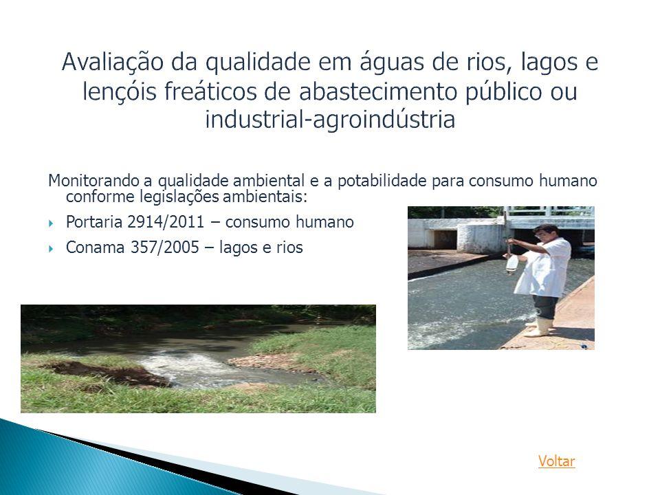 Avaliação da qualidade em águas de rios, lagos e lençóis freáticos de abastecimento público ou industrial-agroindústria