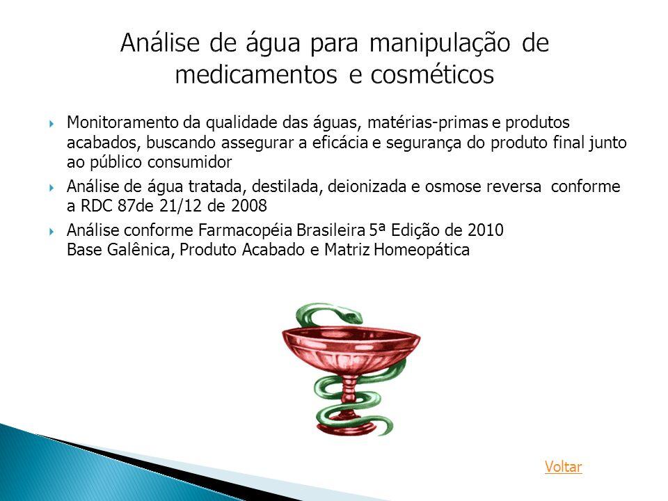 Análise de água para manipulação de medicamentos e cosméticos