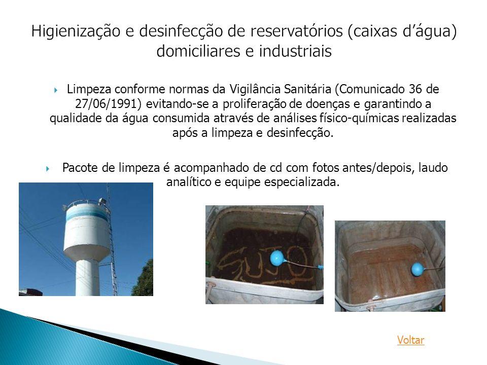 Higienização e desinfecção de reservatórios (caixas d'água) domiciliares e industriais