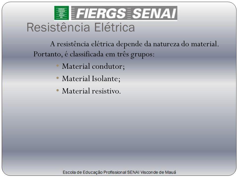 Resistência Elétrica Material condutor; Material Isolante;