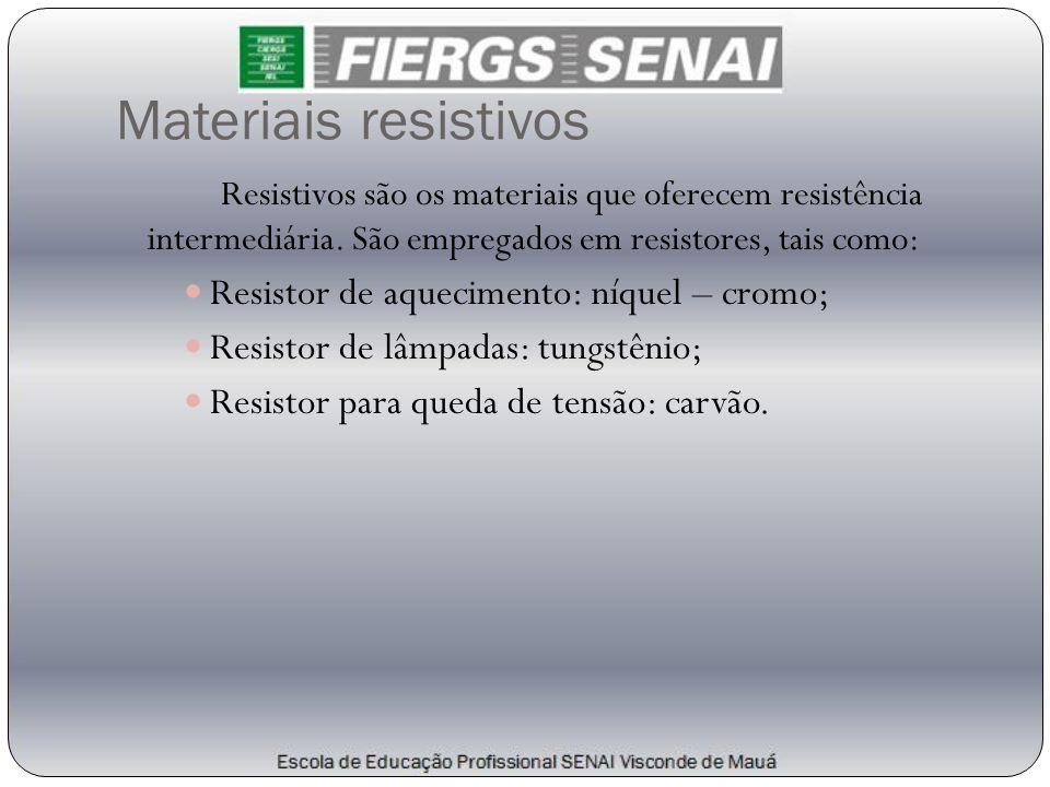 Materiais resistivos Resistor de aquecimento: níquel – cromo;
