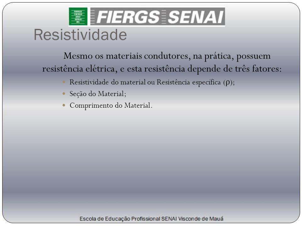 Resistividade Mesmo os materiais condutores, na prática, possuem resistência elétrica, e esta resistência depende de três fatores: