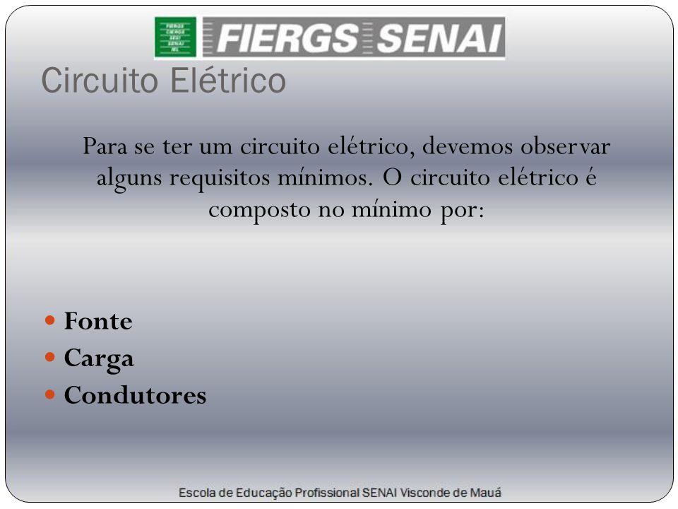 Circuito Elétrico Para se ter um circuito elétrico, devemos observar alguns requisitos mínimos. O circuito elétrico é composto no mínimo por: