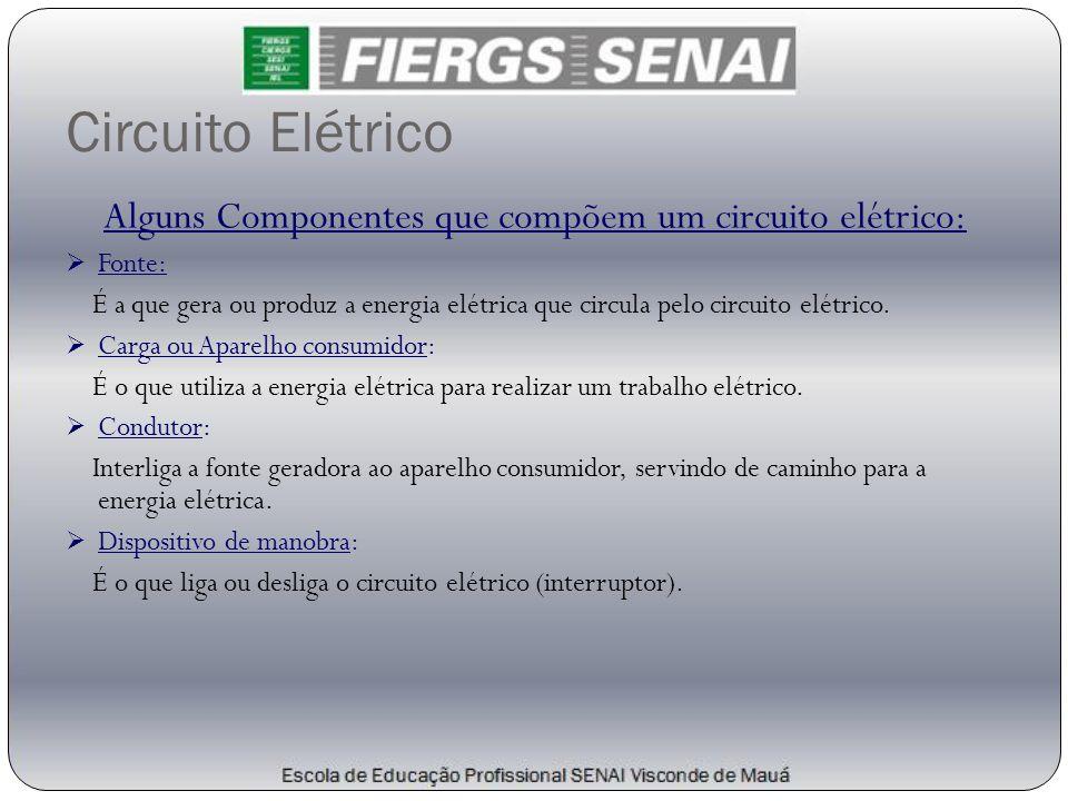 Alguns Componentes que compõem um circuito elétrico: