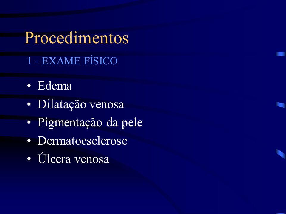 Procedimentos Edema Dilatação venosa Pigmentação da pele