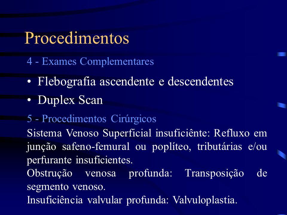 Procedimentos Flebografia ascendente e descendentes Duplex Scan