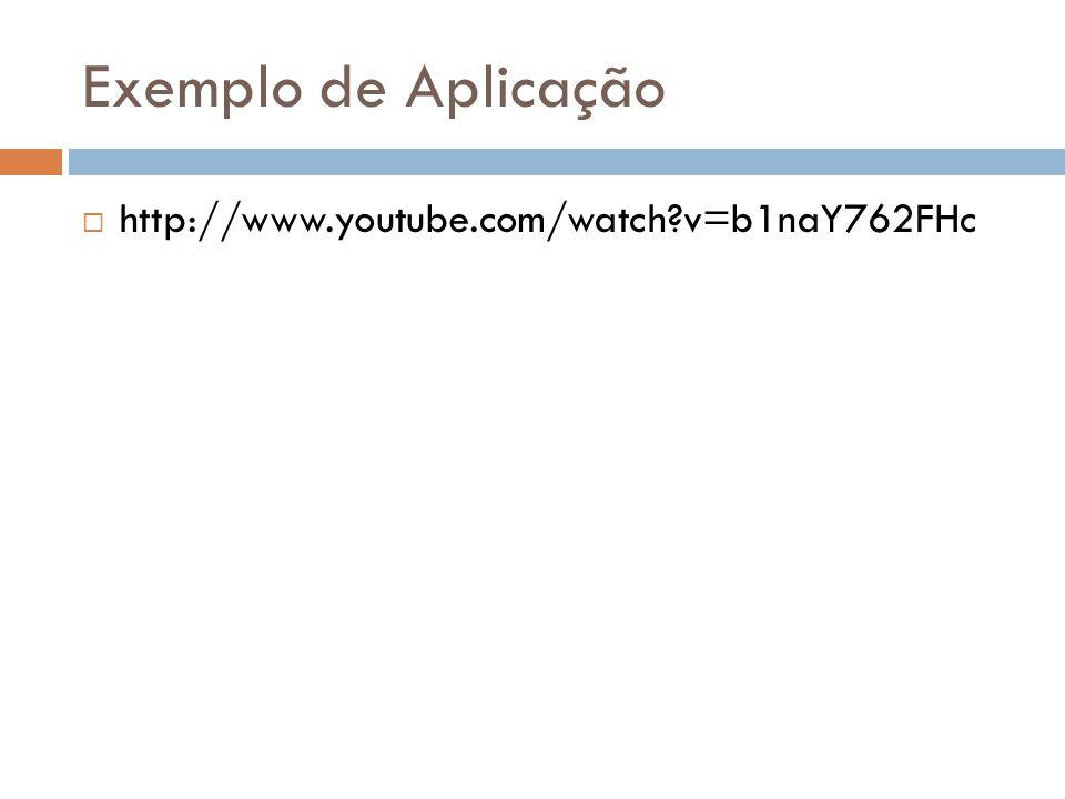 Exemplo de Aplicação http://www.youtube.com/watch v=b1naY762FHc