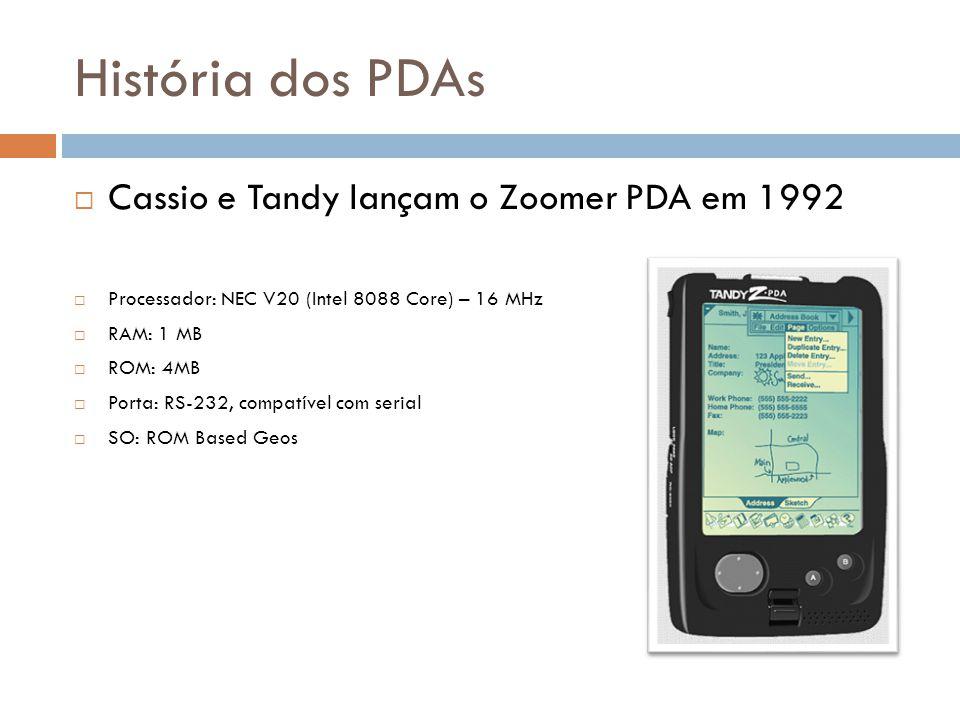 História dos PDAs Cassio e Tandy lançam o Zoomer PDA em 1992