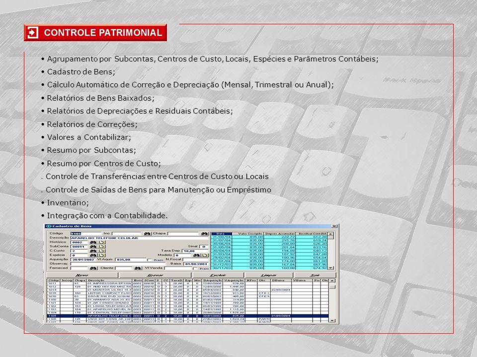 • Agrupamento por Subcontas, Centros de Custo, Locais, Espécies e Parâmetros Contábeis;
