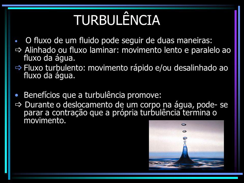 TURBULÊNCIA O fluxo de um fluido pode seguir de duas maneiras:  Alinhado ou fluxo laminar: movimento lento e paralelo ao fluxo da água.