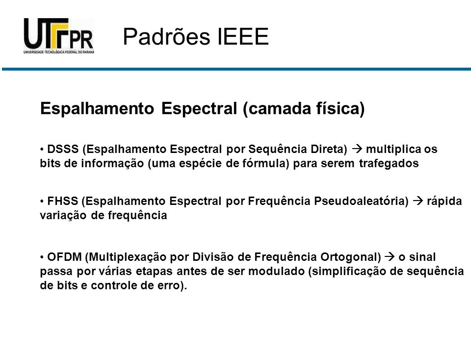 Padrões IEEE Espalhamento Espectral (camada física)