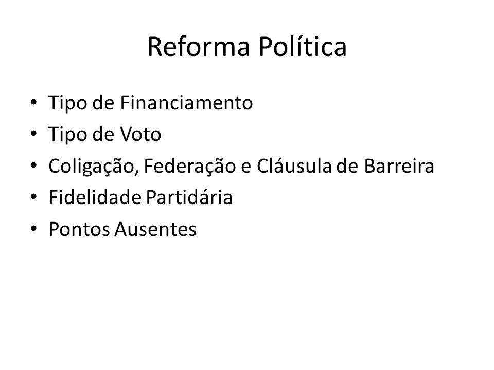 Reforma Política Tipo de Financiamento Tipo de Voto