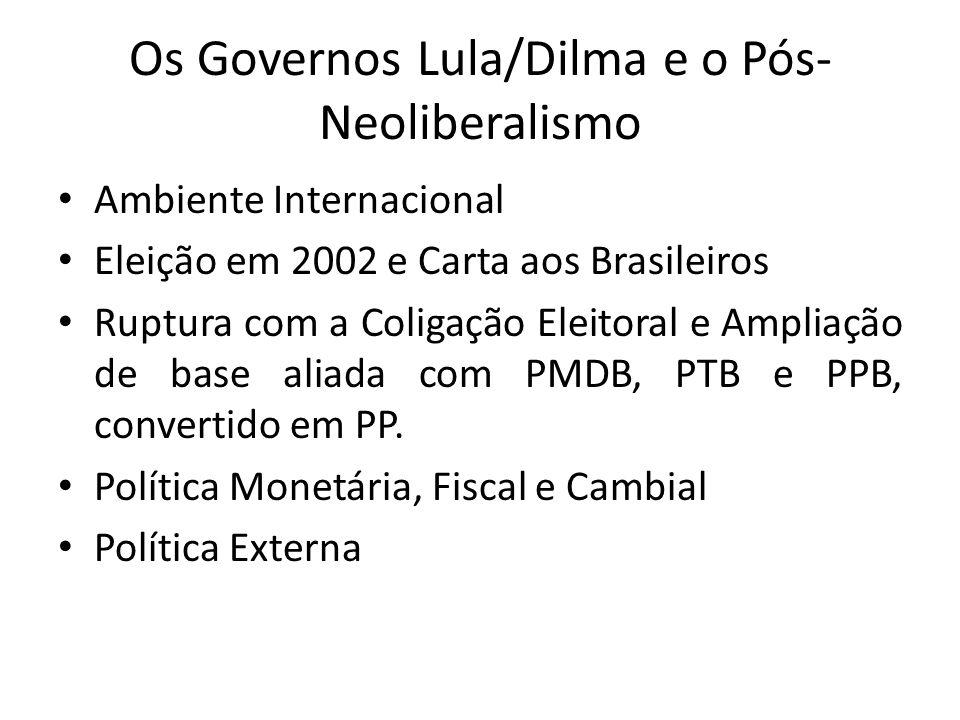 Os Governos Lula/Dilma e o Pós-Neoliberalismo