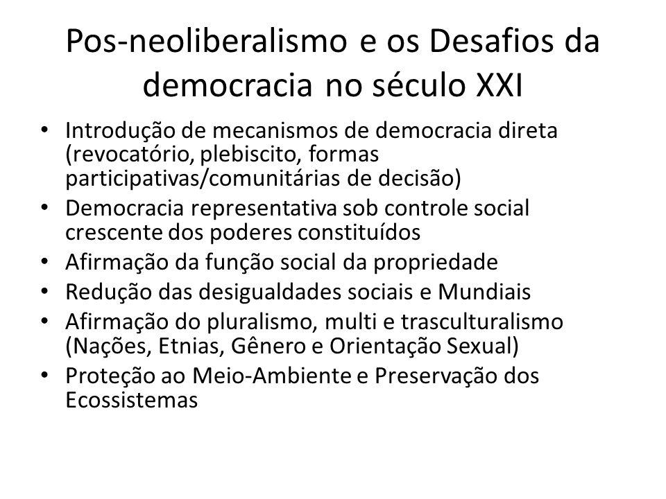 Pos-neoliberalismo e os Desafios da democracia no século XXI