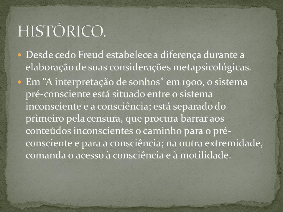HISTÓRICO. Desde cedo Freud estabelece a diferença durante a elaboração de suas considerações metapsicológicas.