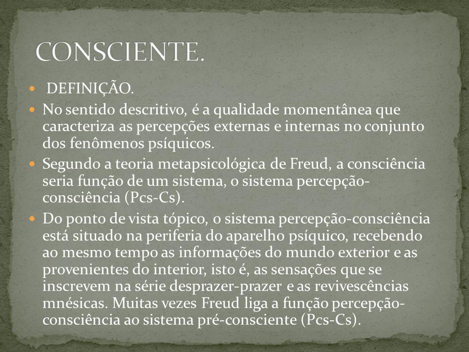 CONSCIENTE. DEFINIÇÃO.