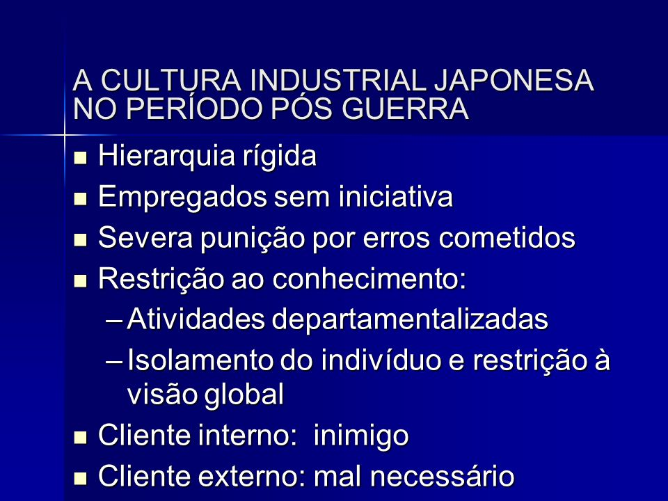 A CULTURA INDUSTRIAL JAPONESA NO PERÍODO PÓS GUERRA