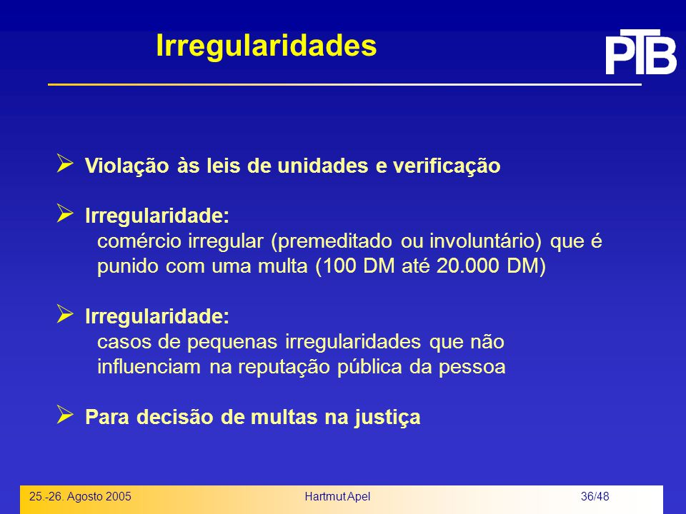 Irregularidades Violação às leis de unidades e verificação