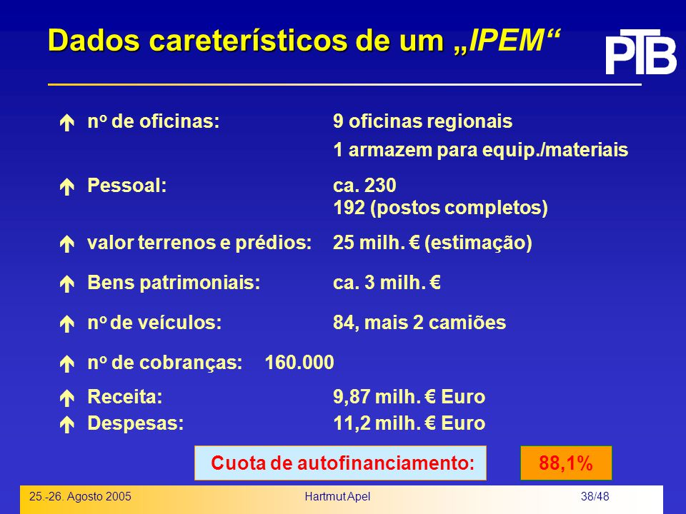 """Dados careterísticos de um """"IPEM"""
