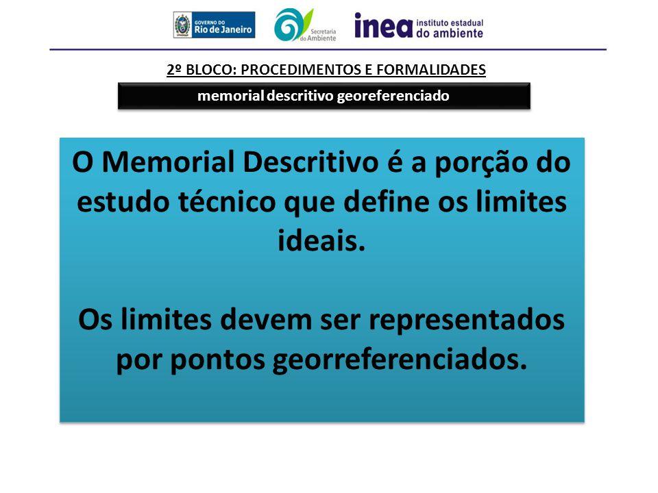Os limites devem ser representados por pontos georreferenciados.