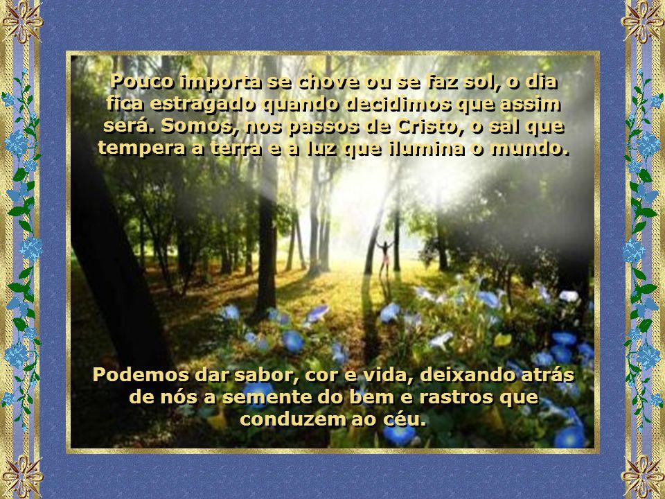Pouco importa se chove ou se faz sol, o dia fica estragado quando decidimos que assim será. Somos, nos passos de Cristo, o sal que tempera a terra e a luz que ilumina o mundo.