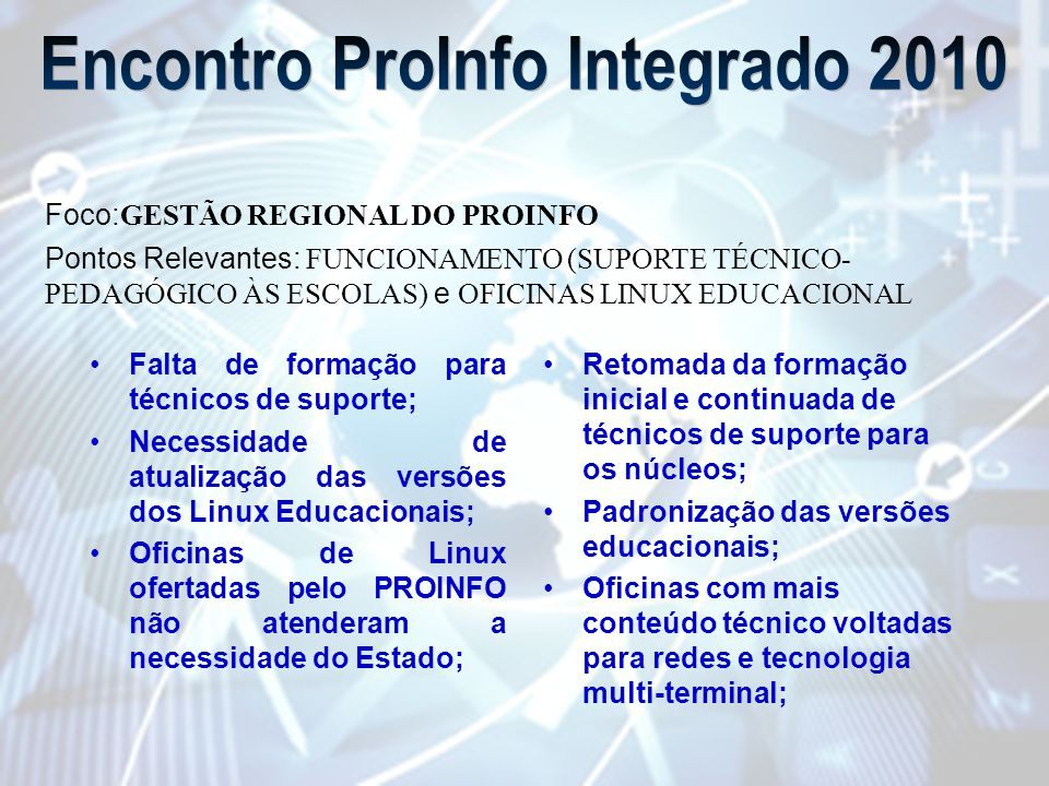 Encontro ProInfo Integrado 2010