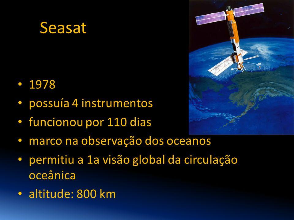 Seasat 1978 possuía 4 instrumentos funcionou por 110 dias