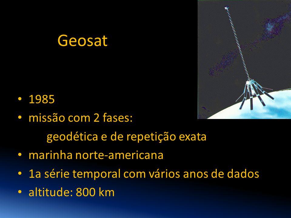 Geosat 1985 missão com 2 fases: geodética e de repetição exata