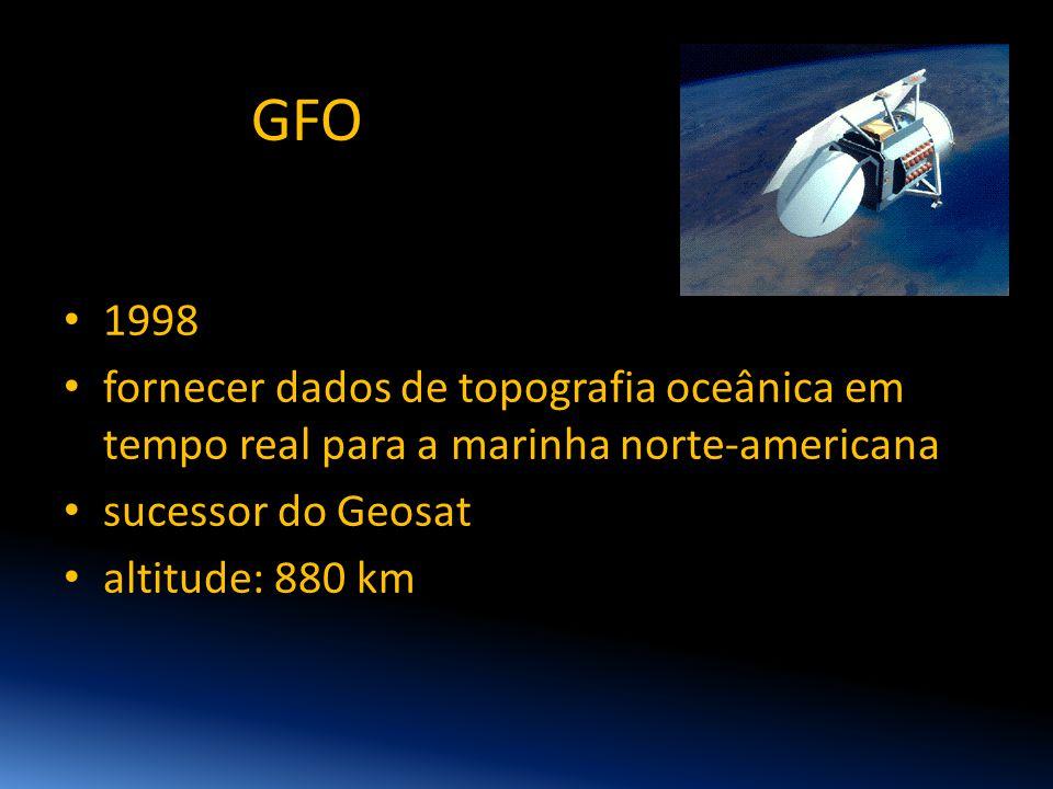 GFO 1998. fornecer dados de topografia oceânica em tempo real para a marinha norte-americana. sucessor do Geosat.
