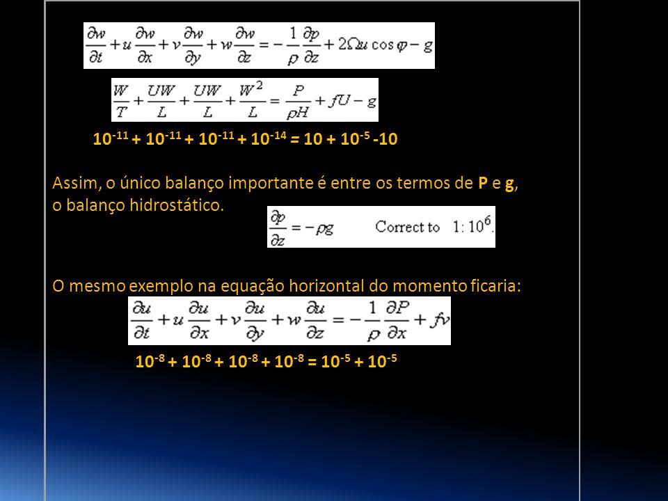 O mesmo exemplo na equação horizontal do momento ficaria: