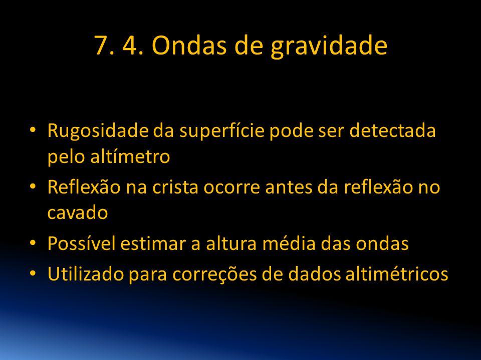 7. 4. Ondas de gravidade Rugosidade da superfície pode ser detectada pelo altímetro. Reflexão na crista ocorre antes da reflexão no cavado.