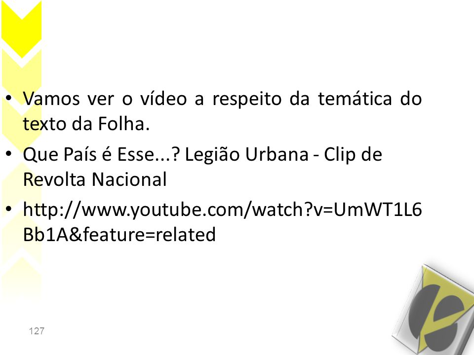 Vamos ver o vídeo a respeito da temática do texto da Folha.