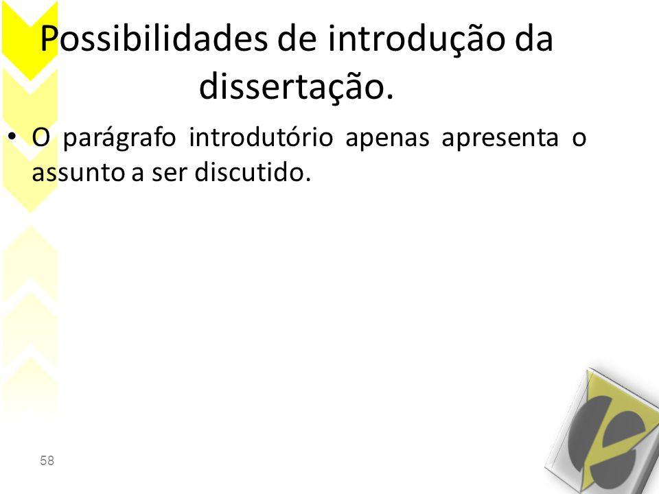 Possibilidades de introdução da dissertação.