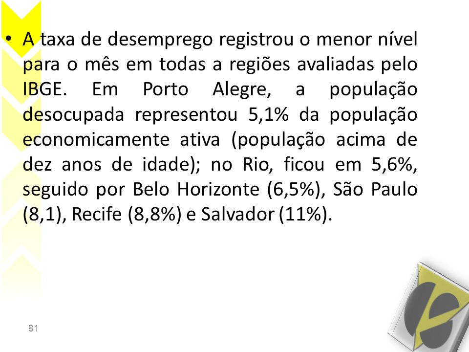 A taxa de desemprego registrou o menor nível para o mês em todas a regiões avaliadas pelo IBGE.